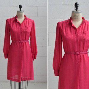 LESLIE FAY vintage lightweight hot pink shirtdress